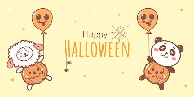 Halloween banner met schattige panda en schapen houden ballonnen cartoon hand getrokken