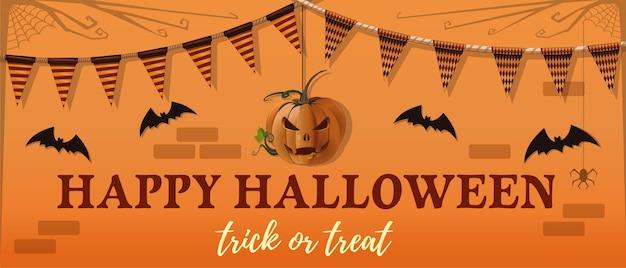 Halloween banner ontwerp. hefboom-o-lantaarn, vleermuis en een groetinscriptie op een oranje achtergrond.