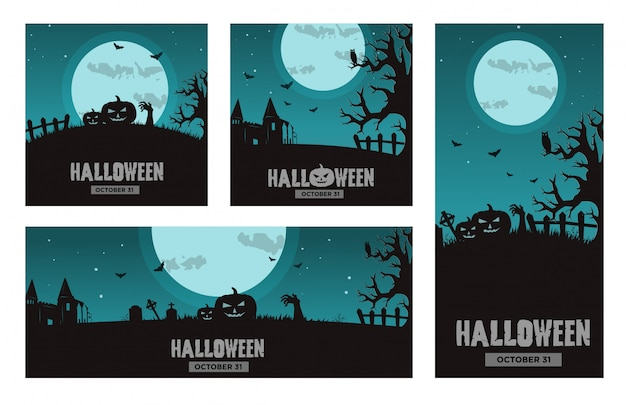Halloween banner set sjabloon