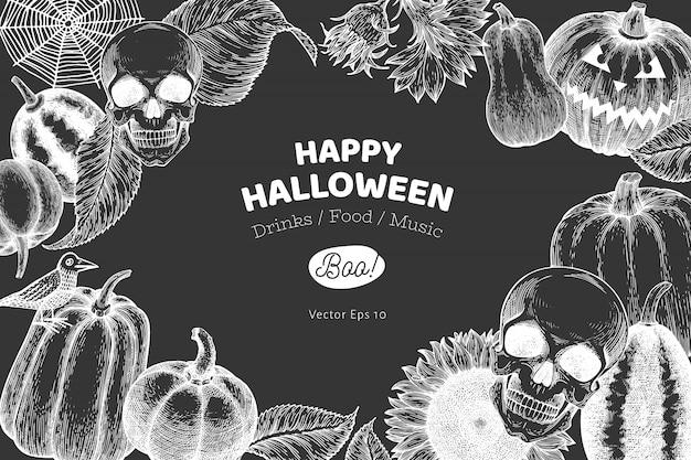 Halloween banner sjabloon. hand getekende illustraties op schoolbord.