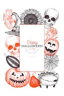 Halloween banner sjabloon. hand getekende illustraties.