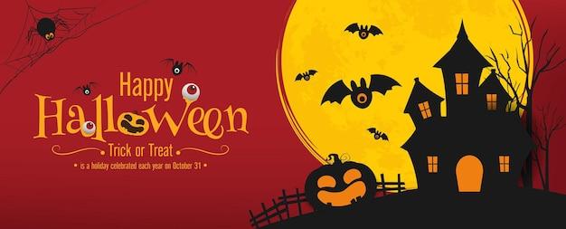 Halloween banner vector ontwerp halloween pompoenen en op donkere achtergrond voor wenskaart banner po