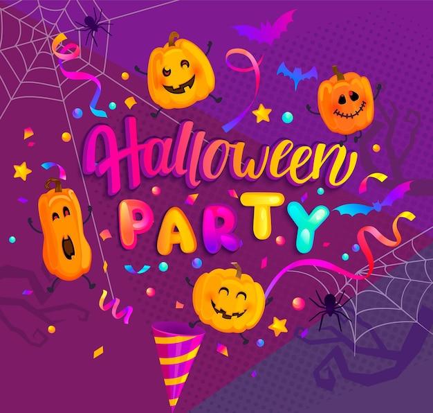 Halloween-banner voor kinderen met uitnodiging om te feesten.