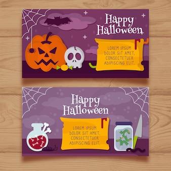 Halloween-bannermalplaatje in vlak ontwerp wordt geplaatst dat