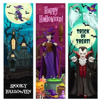 Halloween-banners, feest- en horrornachtmonsters