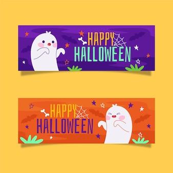 Halloween-banners in plat ontwerp