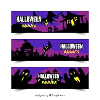 Halloween banners met griezelige stijl