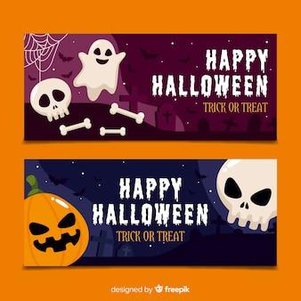 Halloween banners met platte ontwerp