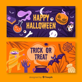 Halloween-banners met pompoen en monsters