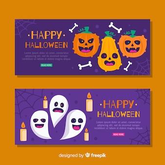 Halloween-banners met pompoenen en spoken