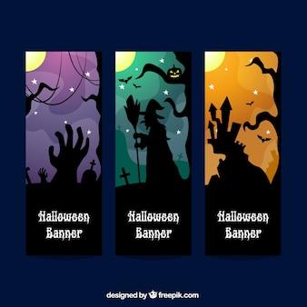 Halloween banners met silhouetten