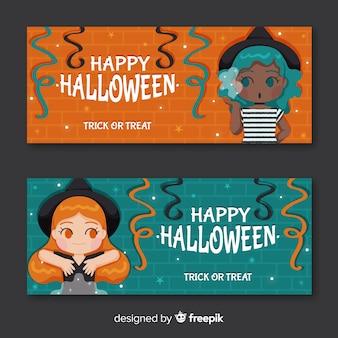 Halloween-banners met vrouwelijke heksen