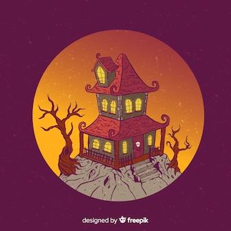 Halloween-beeldverhaalhuis op heuvel