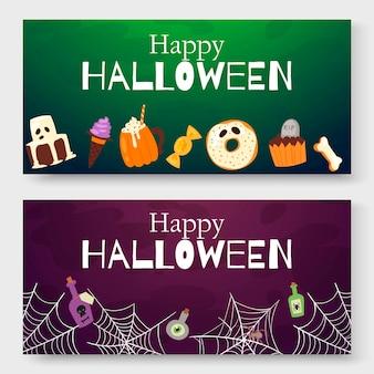 Halloween-beeldverhaalillustratie voor uitnodigingskaarten.