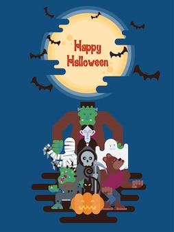 Halloween-beeldverhaalkarakters onder de maan