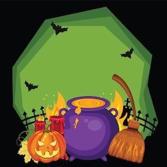Halloween bezems magische ketels toverdrankjes vleermuizen pompoenen en kaarsen op een donkere achtergrond