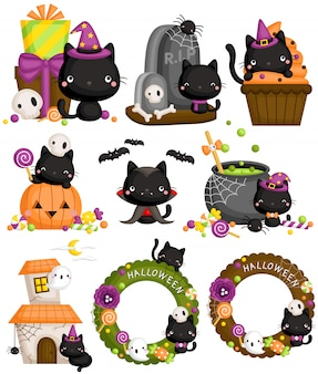 Halloween black cat set