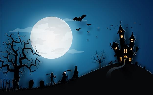 Halloween blauwe sjabloon in nachtelijke hemel met pompoen, kasteel, mascotte en volle maan.