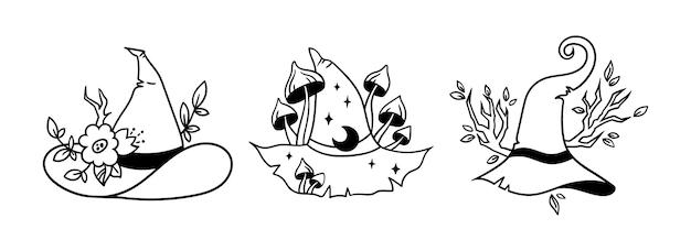 Halloween bloemen heks hoed silhouet bundel heksen tovenaar hoed met planten paddestoelen takken