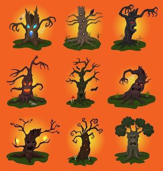 Halloween boom vector eng karakter boomtoppen van horror in griezelige bos illustratie set