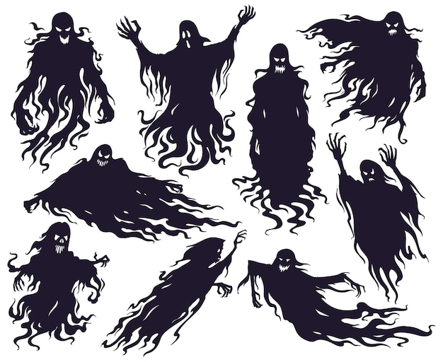 Halloween boze geest silhouet. enge nachtmerrie spookkarakters, griezelige spookdemonen mascottes vector illustratie set. cartoon spook silhouetten. angst voor halloween, duivels angstaanjagend silhouet