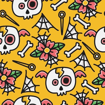 Halloween cartoon doodle kawaii patroon ontwerp illustratie