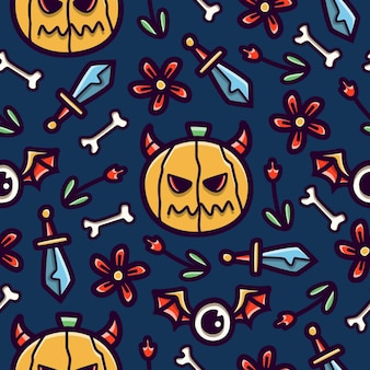 Halloween cartoon doodle naadloze patroon ontwerp