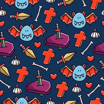 Halloween cartoon doodle naadloze patroon