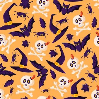 Halloween cartoon naadloze patroon - zwarte vleermuis, schedel en botten, spin, heksenhoed en herfstbladeren
