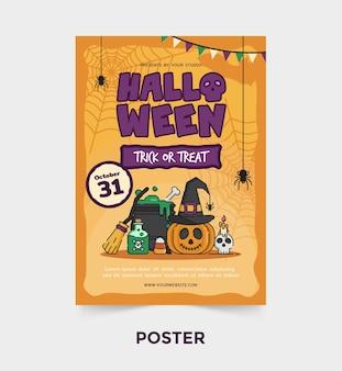 Halloween cartoon partij poster sjabloon