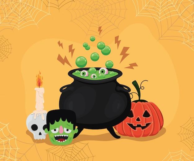 Halloween-cartoons van pompoenfrankenstein en heksenkom met spinnenwebbenkaderontwerp, vakantie en eng thema
