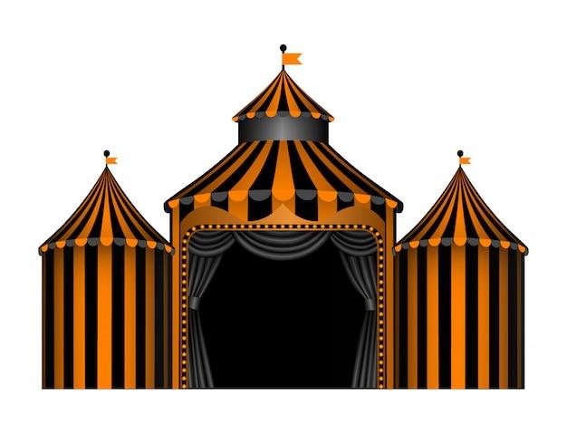 Halloween circus met zwarte en oranje strepen