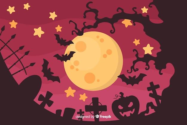 Halloween-concept met platte ontwerpachtergrond