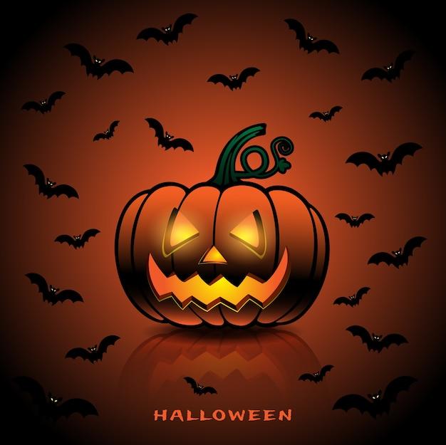 Halloween-concept met pompoenen en knuppels