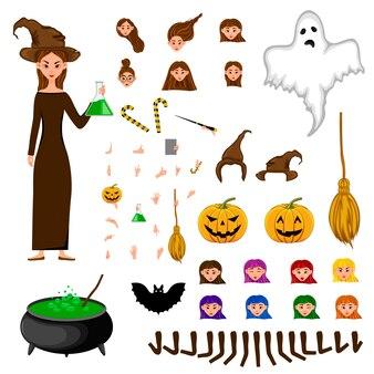 Halloween-constructeursreeks vrouwelijke karakters. meisje met vakantieattributen.