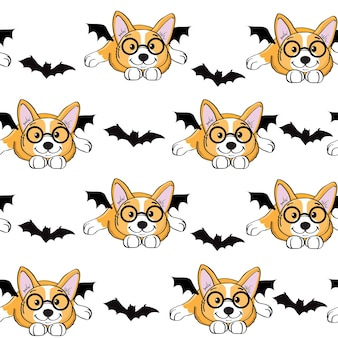 Halloween corgi hond in een vleermuis kostuum naadloos patroon. vector illustratie geïsoleerd