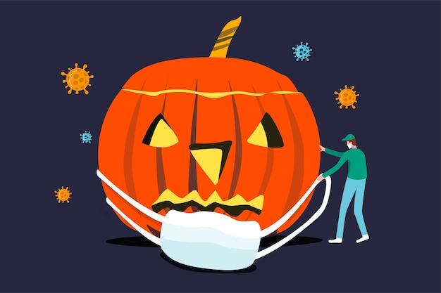 Halloween coronavirus-pandemieconcept, horror halloween-pompoen met medisch personeel probeert een gezichtsmasker met viruspathogeen rond te dragen in een donkere, spookachtige nacht.