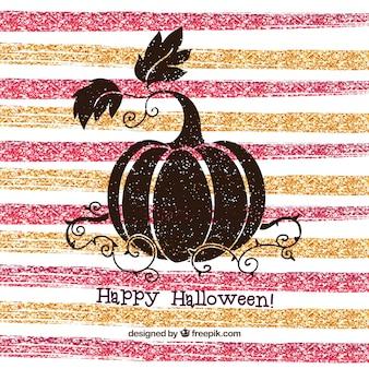Halloween creatieve achtergrond van gestreepte glitter en pompoen
