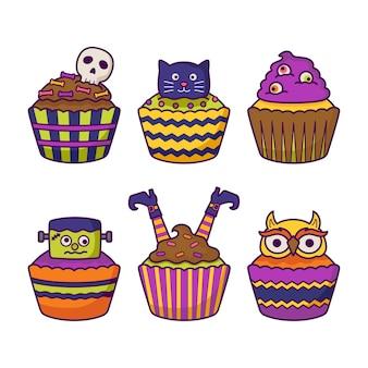 Halloween cupcake illustratie