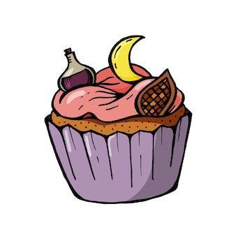 Halloween cupcake met maan en paars drankje. een schattig eng dessert perfect voor feestuitnodigingen.