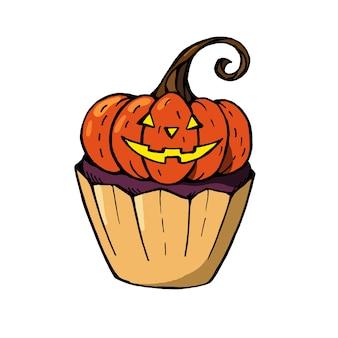 Halloween cupcake met oranje pompoen en paarse cupcake. een schattig eng dessert perfect voor feestuitnodigingen.