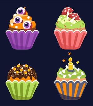 Halloween-cupcakes. vector illustratie.