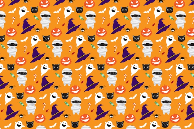 Halloween cute cartoon naadloze patroon
