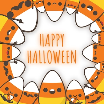 Halloween-de familie van het suikergoedgraan verfraait een kader.