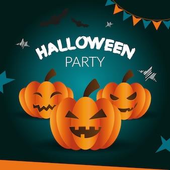 Halloween-de groetkaart van de partij van enge pompoen