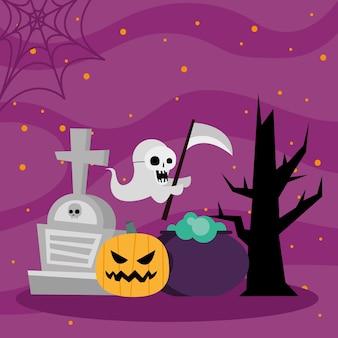 Halloween-de heksenkom van het pompoenspook en boomontwerp, eng thema