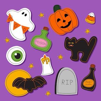 Halloween decoratie cartoon vector set. griezelige items op paars. toverdrank, spook, traktaties, kat, pompoen. oog, vleermuis, maan en grafsteen met tekst rip. horror decor platte cliparts