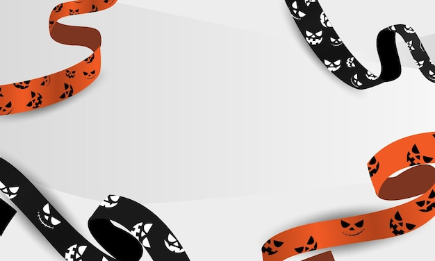 Halloween-decoratie met linten door monsters, realistische vector