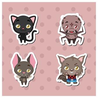 Halloween dieren sticker set