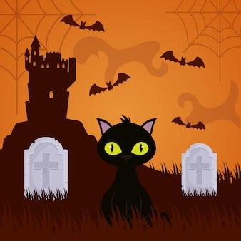 Halloween donkere cementery met kat